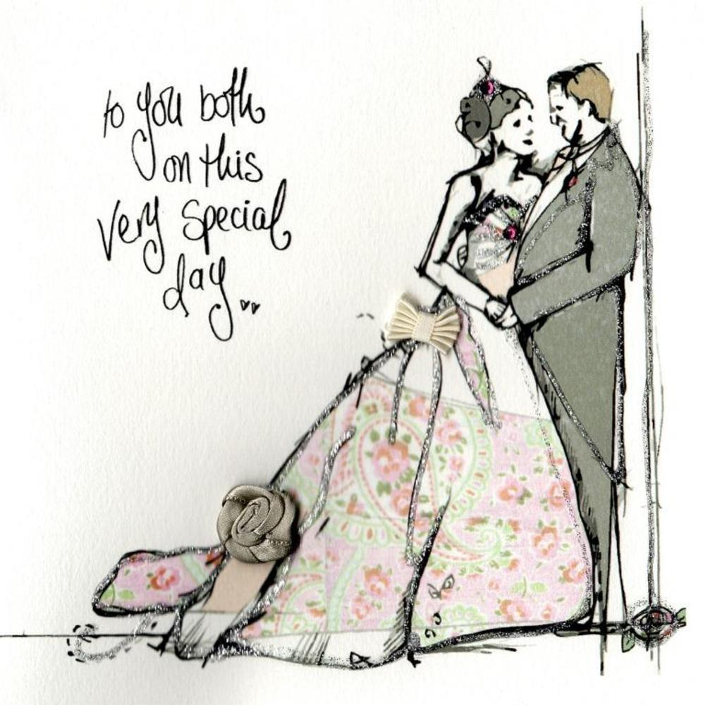 To You Both Wedding Day Embellished Greeting Card