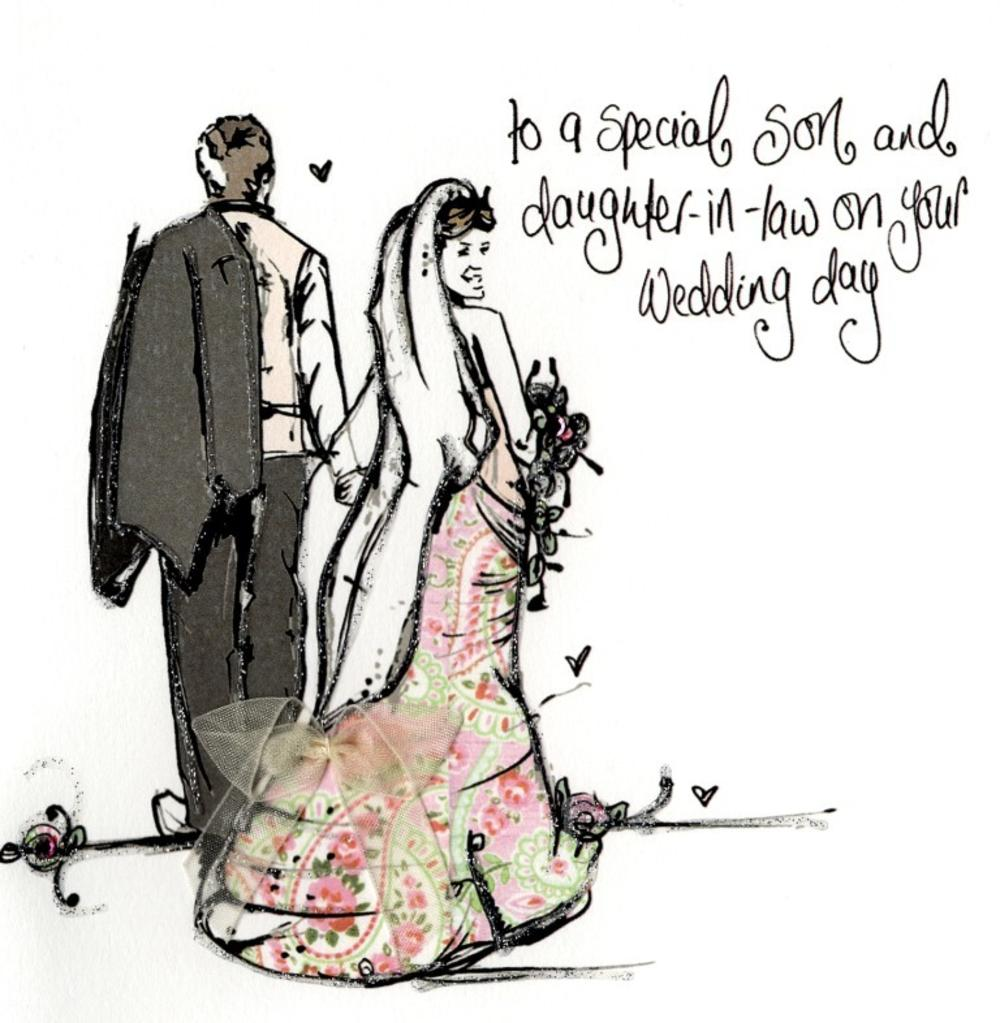 Son & Daughter-In-Law Wedding Day Embellished Greeting Card
