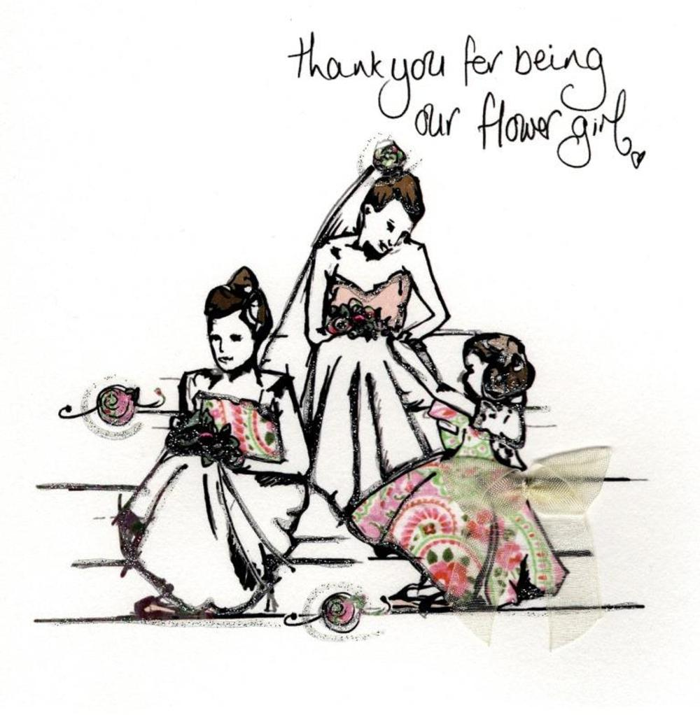 Thank You Flower Girl Wedding Thanks Greeting Card