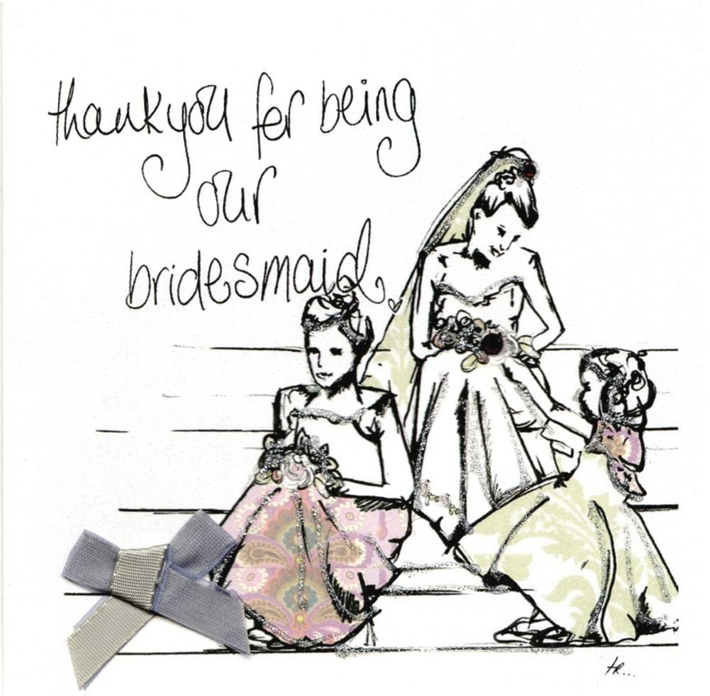 Thank You Bridesmaid Wedding Thanks Greeting Card