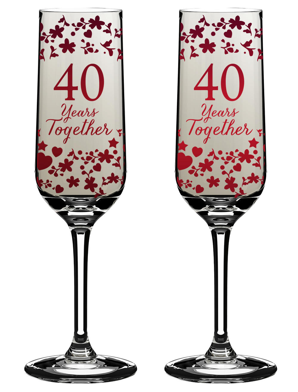 40 Years Together 40th Anniversary Champagne Flutes In Gift Box