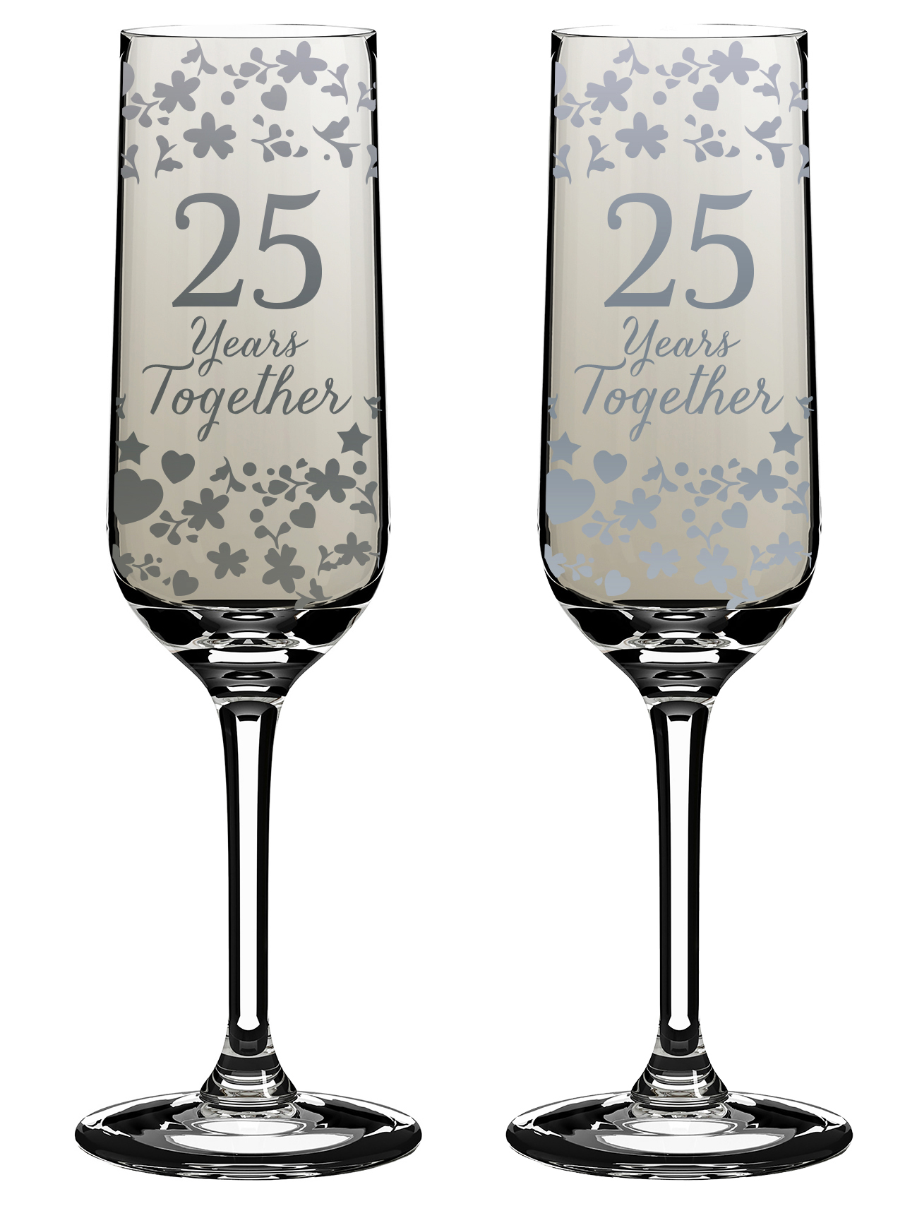 25 Years Together 25th Anniversary Champagne Flutes In Gift Box ...