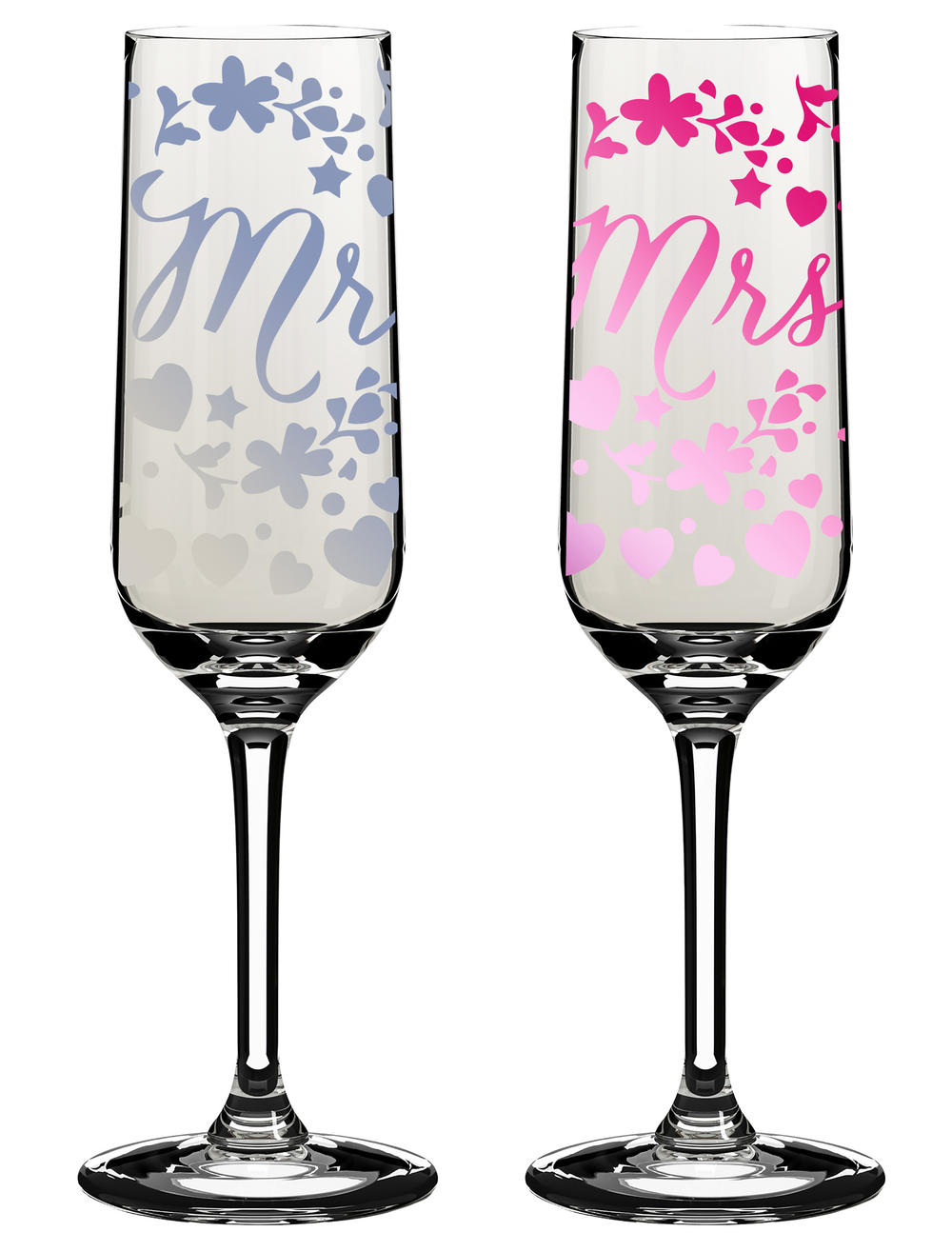 Mr Mrs Wedding Day Champagne Flutes In Gift Box