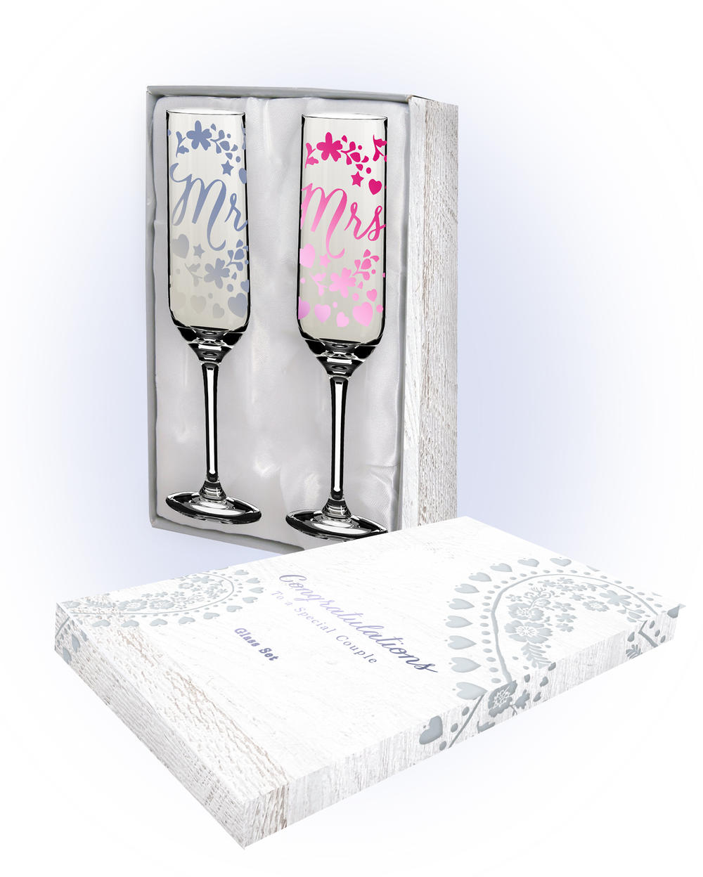 Wedding Gift Champagne Flutes: Mr & Mrs Wedding Day Champagne Flutes In Gift Box