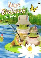 Frogs Fishing Googlies Birthday Card