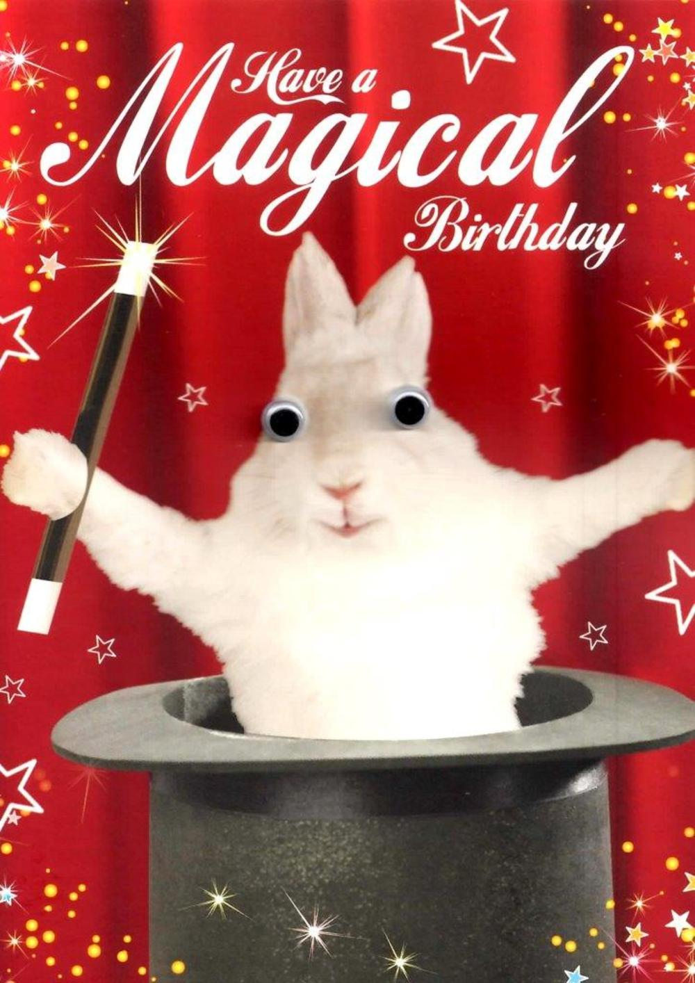White Rabbit Googlies Magical Birthday Card