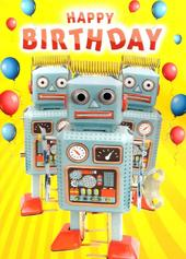 Robots Googlies Happy Birthday Card