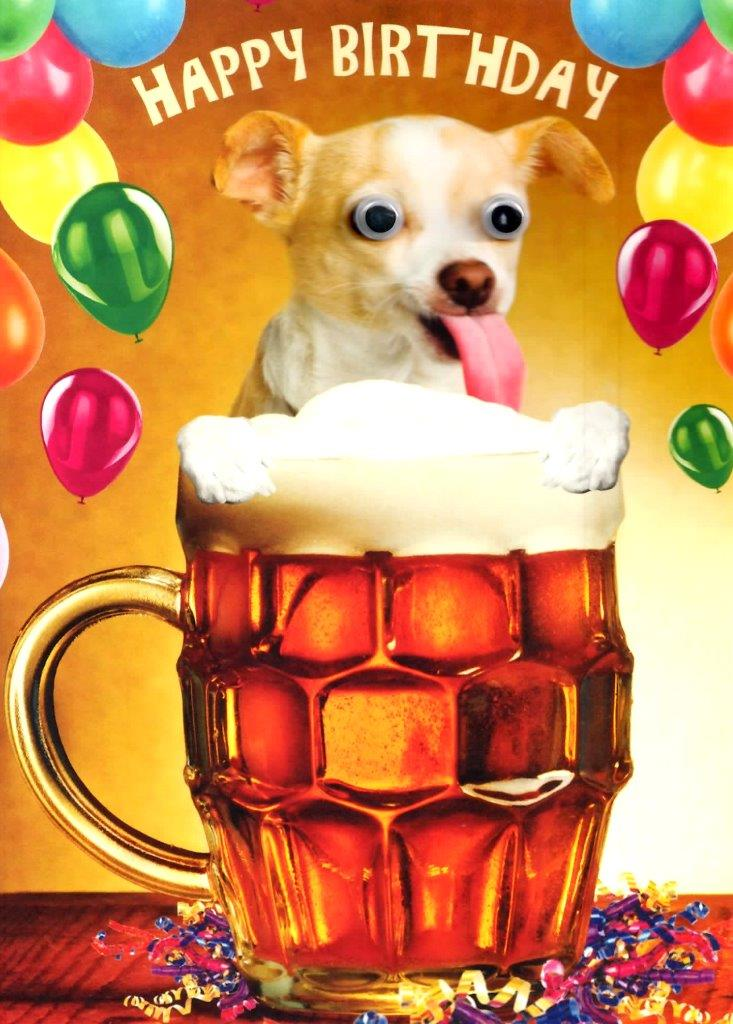 Dog Beer Googlies Birthday Card Fun Tracks Wobbly Eyes Greeting