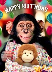 Cute Chimp Happy Birthday Greeting Card