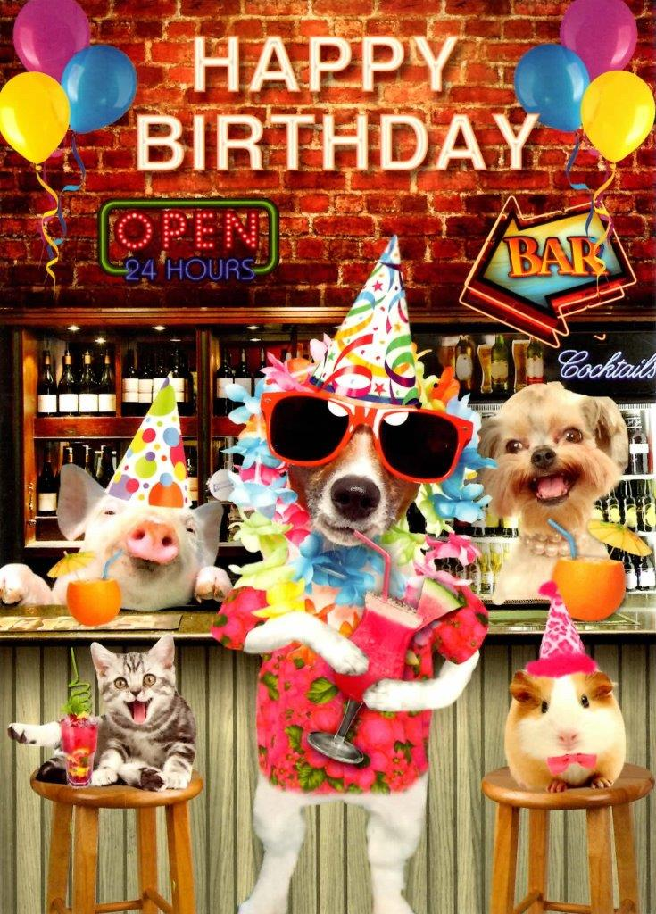 Cocktail Party Happy Birthday Greeting Card Cards Love Kates