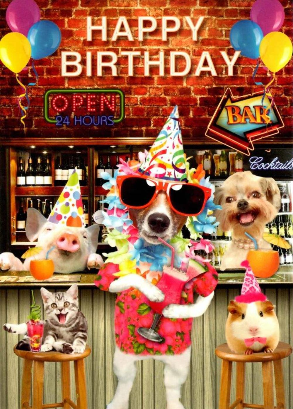 Cocktail Party Happy Birthday Greeting Card
