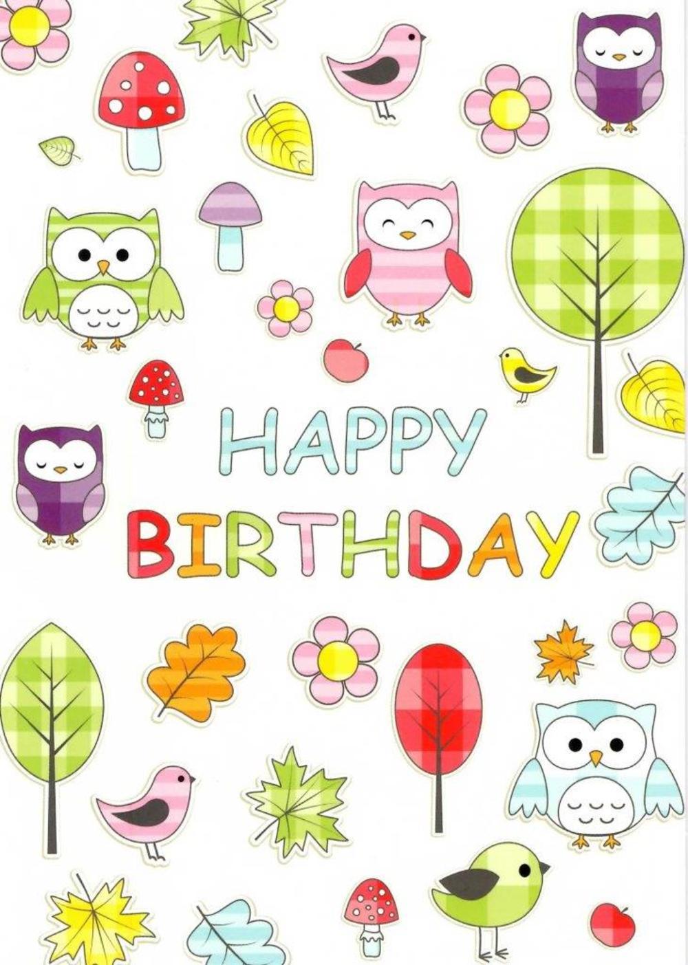 Woodland Owls Happy Birthday Greeting Card