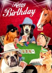 Cassino Night Happy Birthday Greeting Card