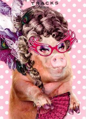 Dame Ed Pig Blank Greeting Card