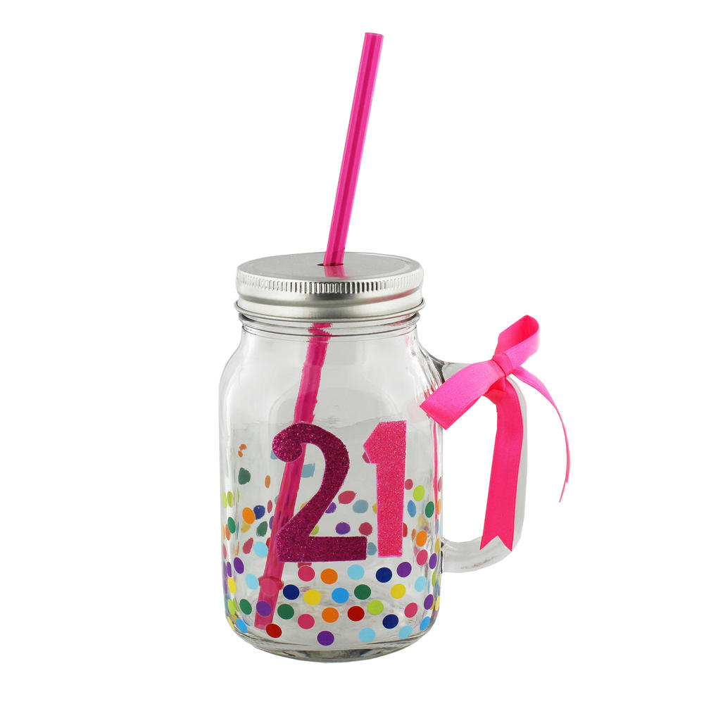 21st Birthday Decorated Glass Mason Jar & Straw