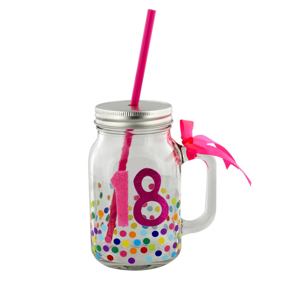 18th Birthday Decorated Glass Mason Jar & Straw