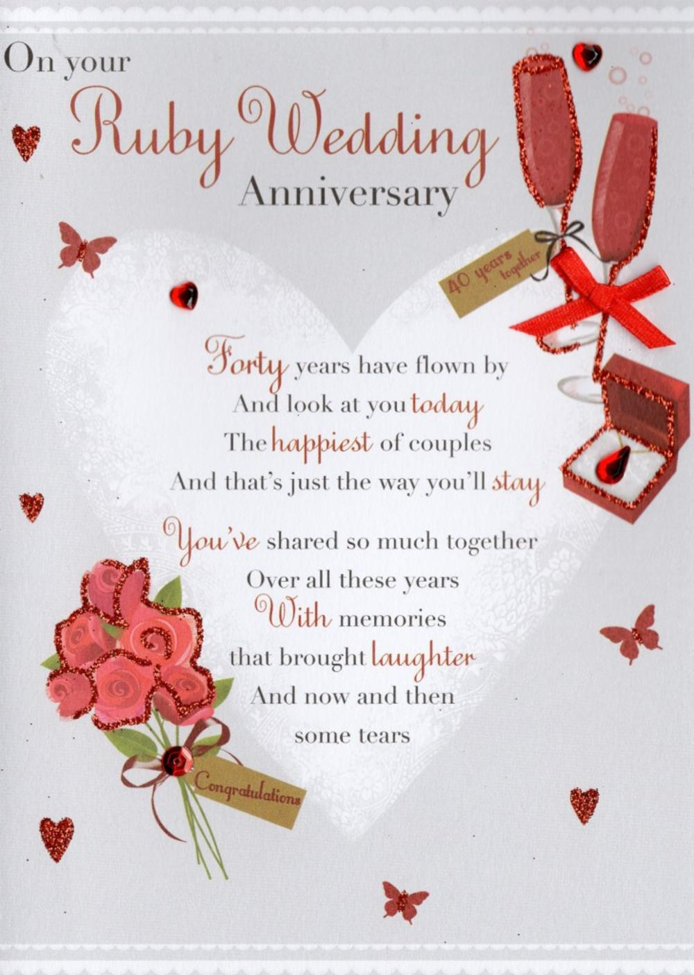 Ruby 40th anniversary greeting card cards love kates ruby 40th anniversary greeting card m4hsunfo