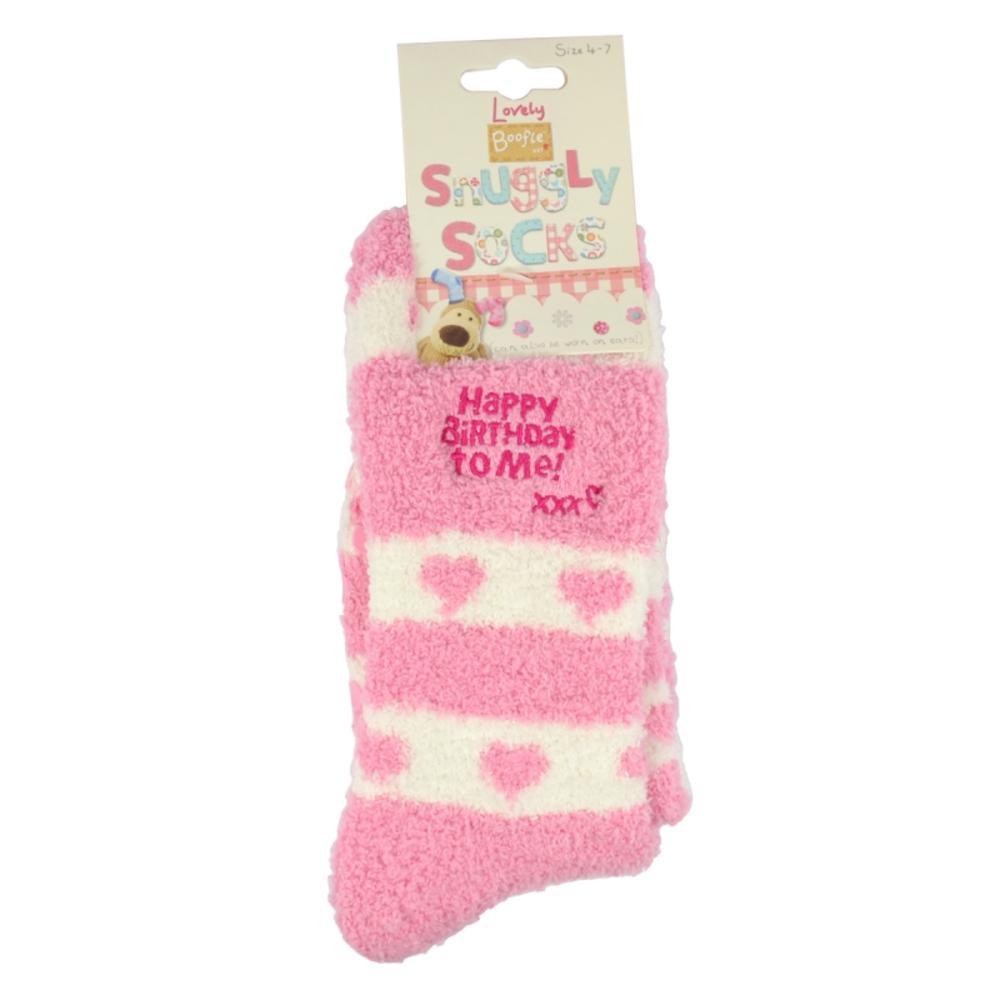 Boofle Happy Birthday Pair Fluffy Slipper Socks