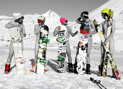 Camera Bag Naked Snowboarders Greeting Card