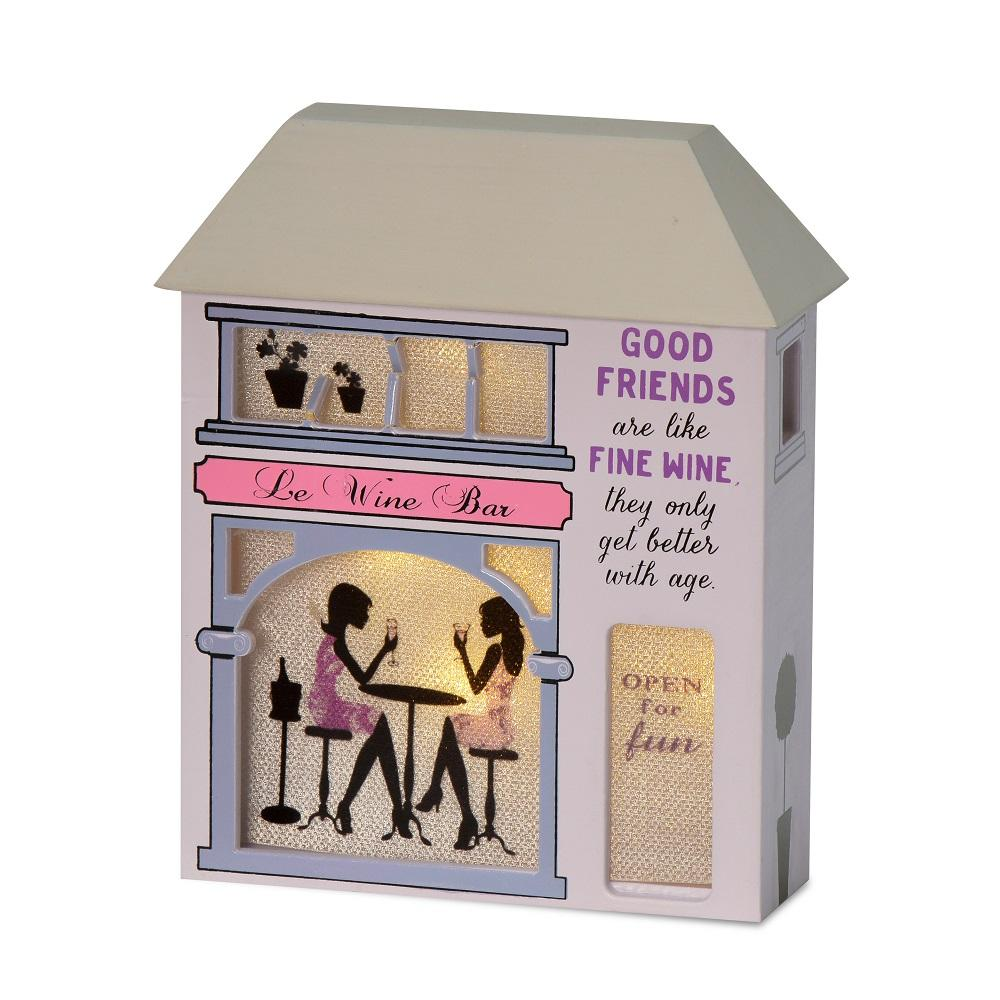 Good Friends Are Like Fine Wine Light Up House Gift
