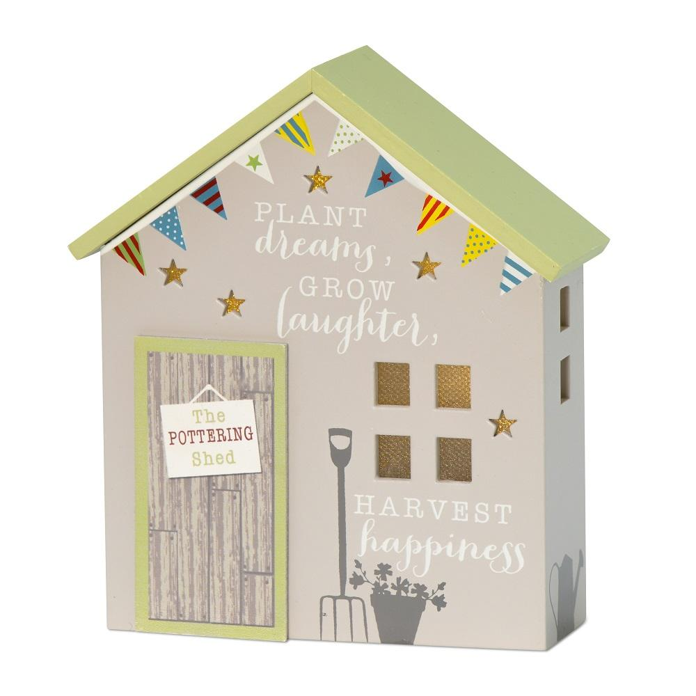 Dreams Laughter & Happiness Light Up Pottering Shed Gift