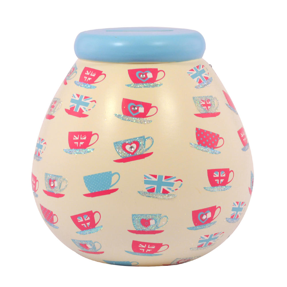Union Jack Tea Cups Pots of Dreams Money Pot