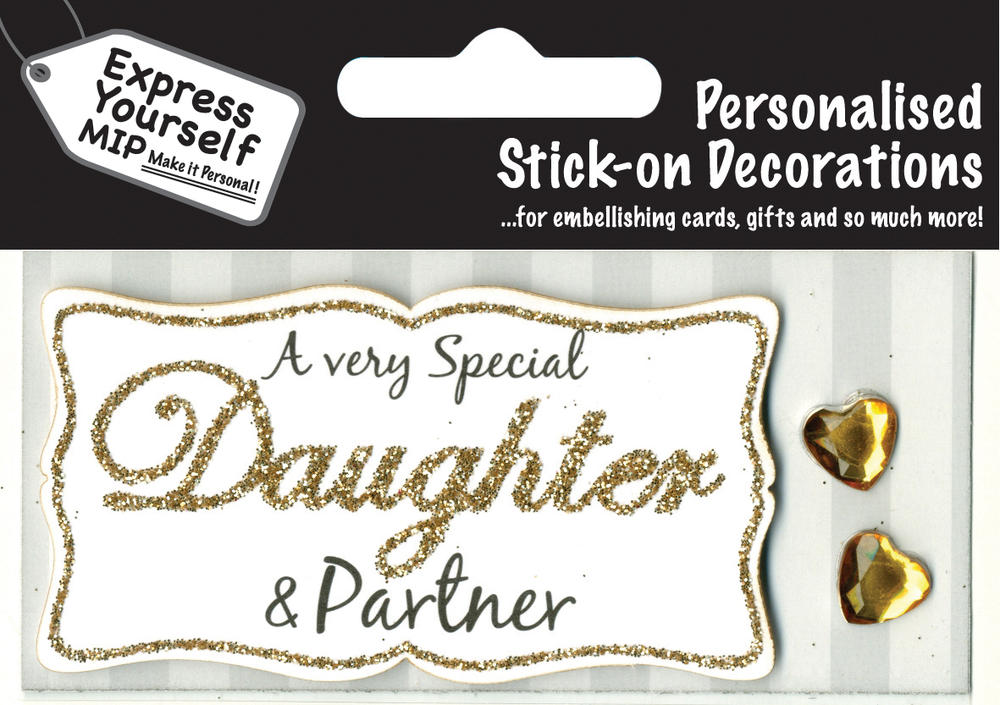 Gold Daughter & Partner DIY Greeting Card Toppers