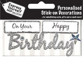 Silver Happy Birthday DIY Greeting Card Toppers