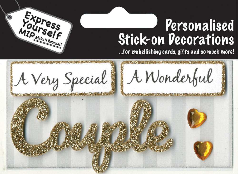 Gold Couple DIY Greeting Card Toppers