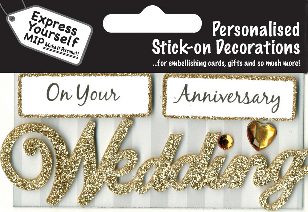Gold Wedding Anniversary DIY Greeting Card Toppers
