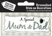Silver Mum & Dad DIY Greeting Card Toppers