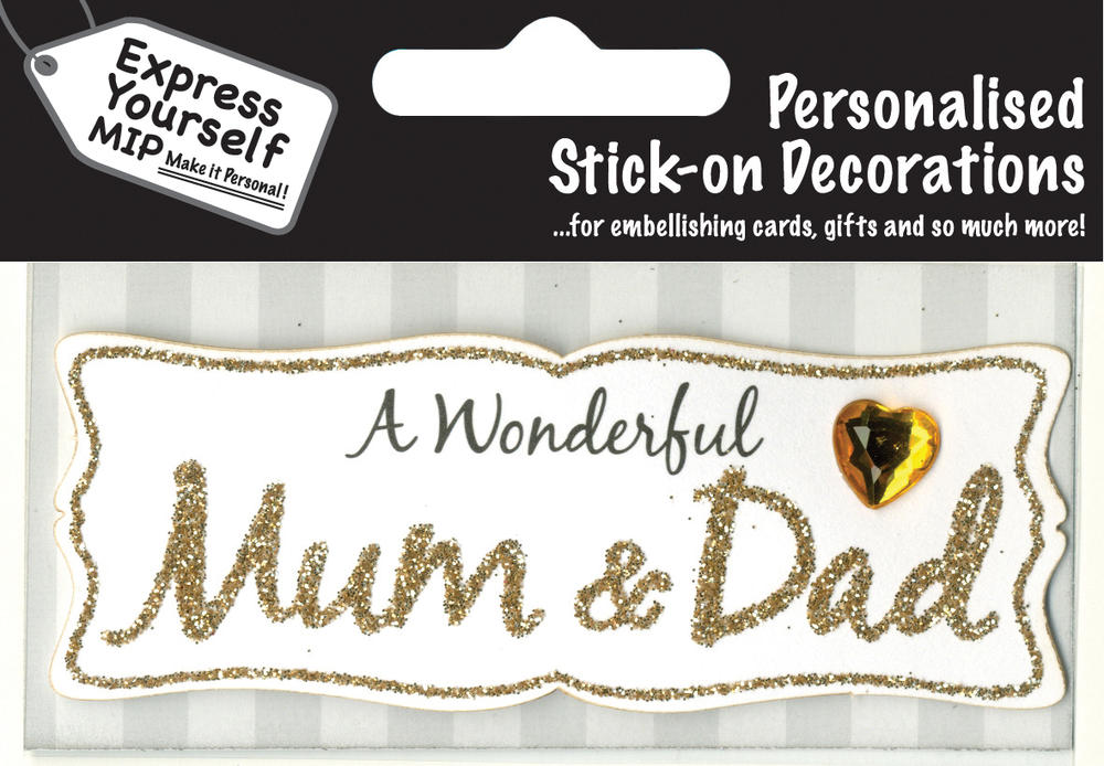 Gold Mum & Dad DIY Greeting Card Toppers