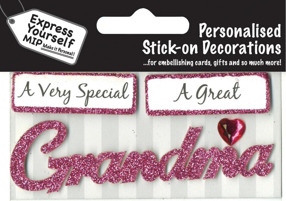 Pink Grandma DIY Greeting Card Toppers