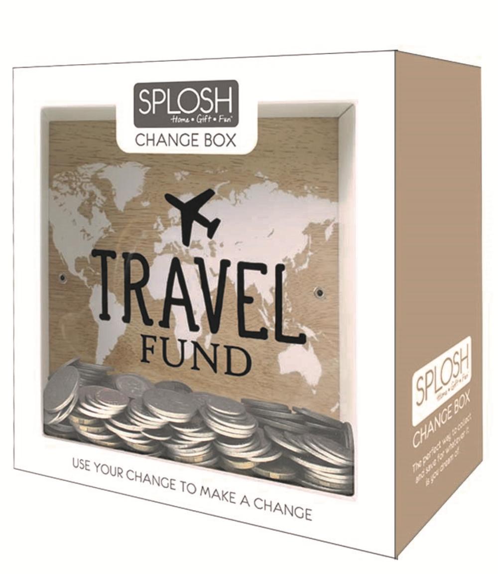 Splosh travel fund change box gift gifts love kates for Travel fund piggy bank