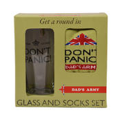 Dad's Army Don't Panic Glass & Socks Gift Set