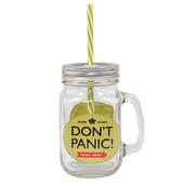 Dad's Army Don't Panic Mason Jar With Straw & Handle