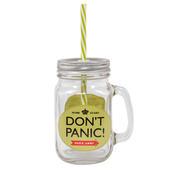 Dad's Army Don't Panic Mason Jar With Straw & Handle