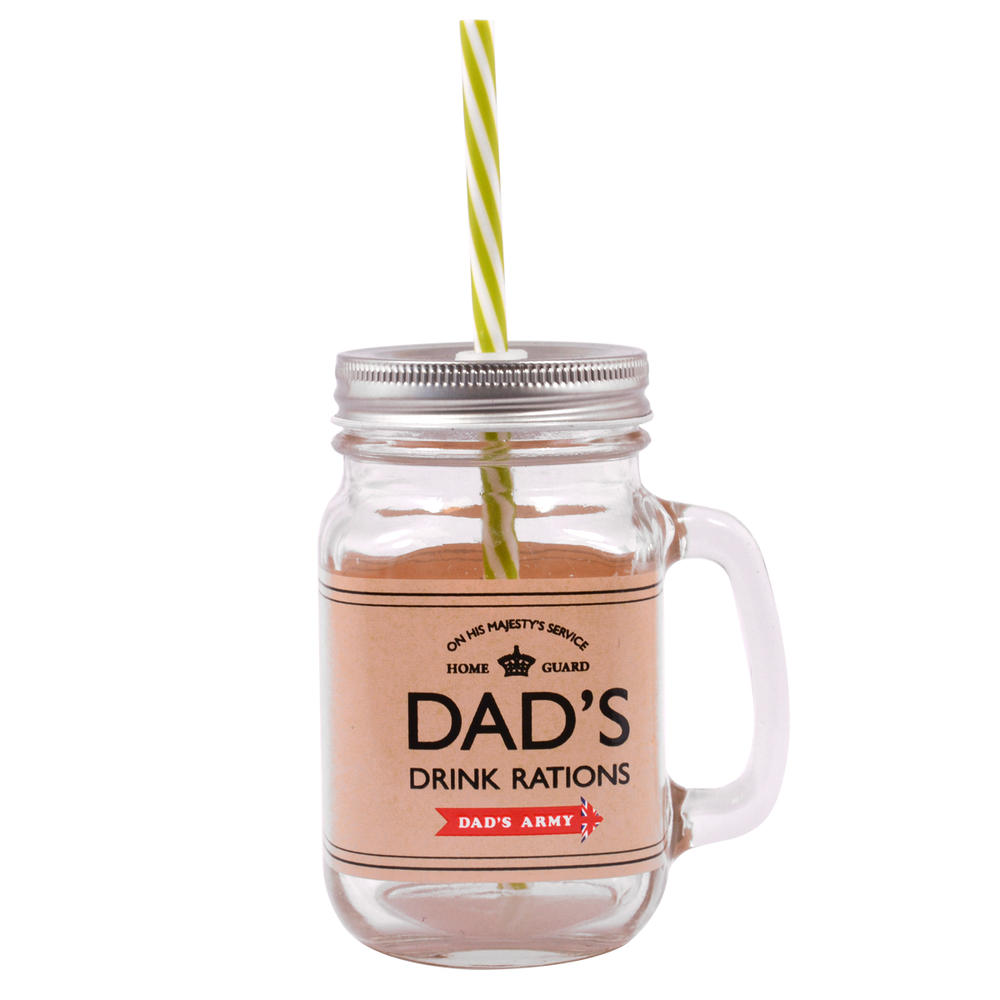 Dad's Army Dad's Drink Rations Mason Jar With Straw & Handle