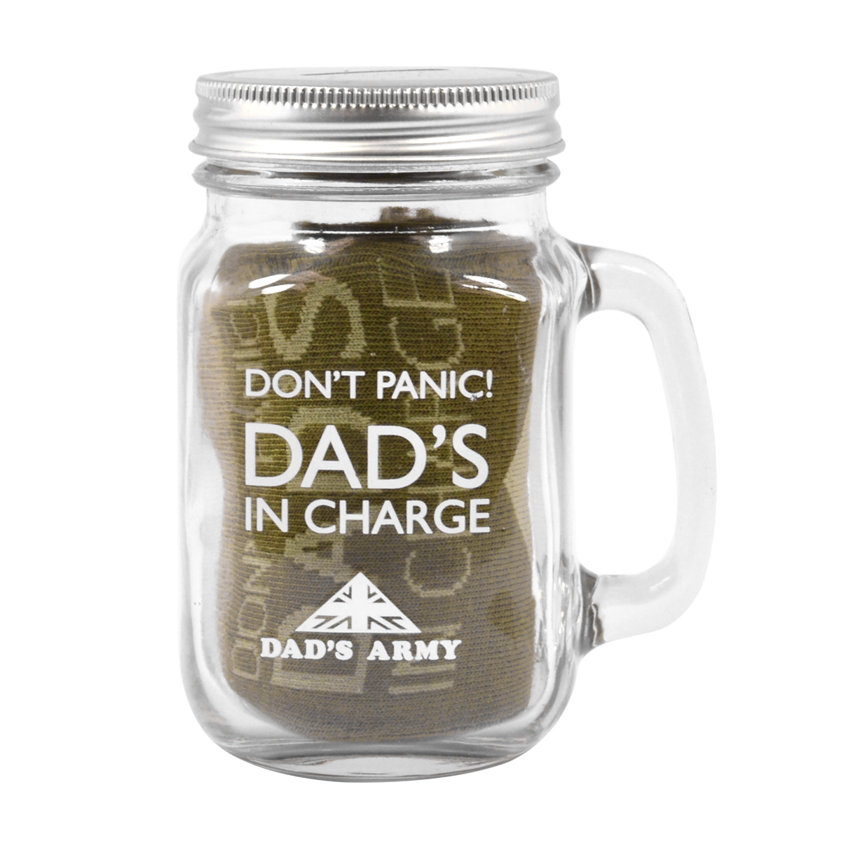 Dad 39 s army don 39 t panic dad 39 s in charge money jar socks for Cool money jars