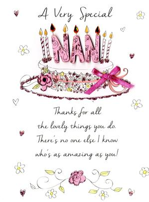 Special Nan Happy Birthday Greeting Card