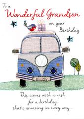 Wonderful Grandson Birthday Greeting Card