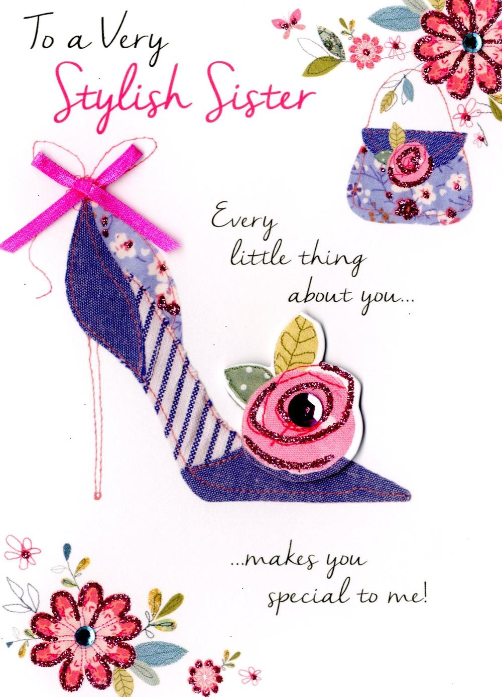 Very Stylish Sister Birthday Greeting Card