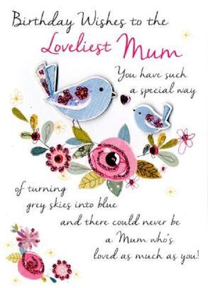 Loveliest Mum Birthday Greeting Card