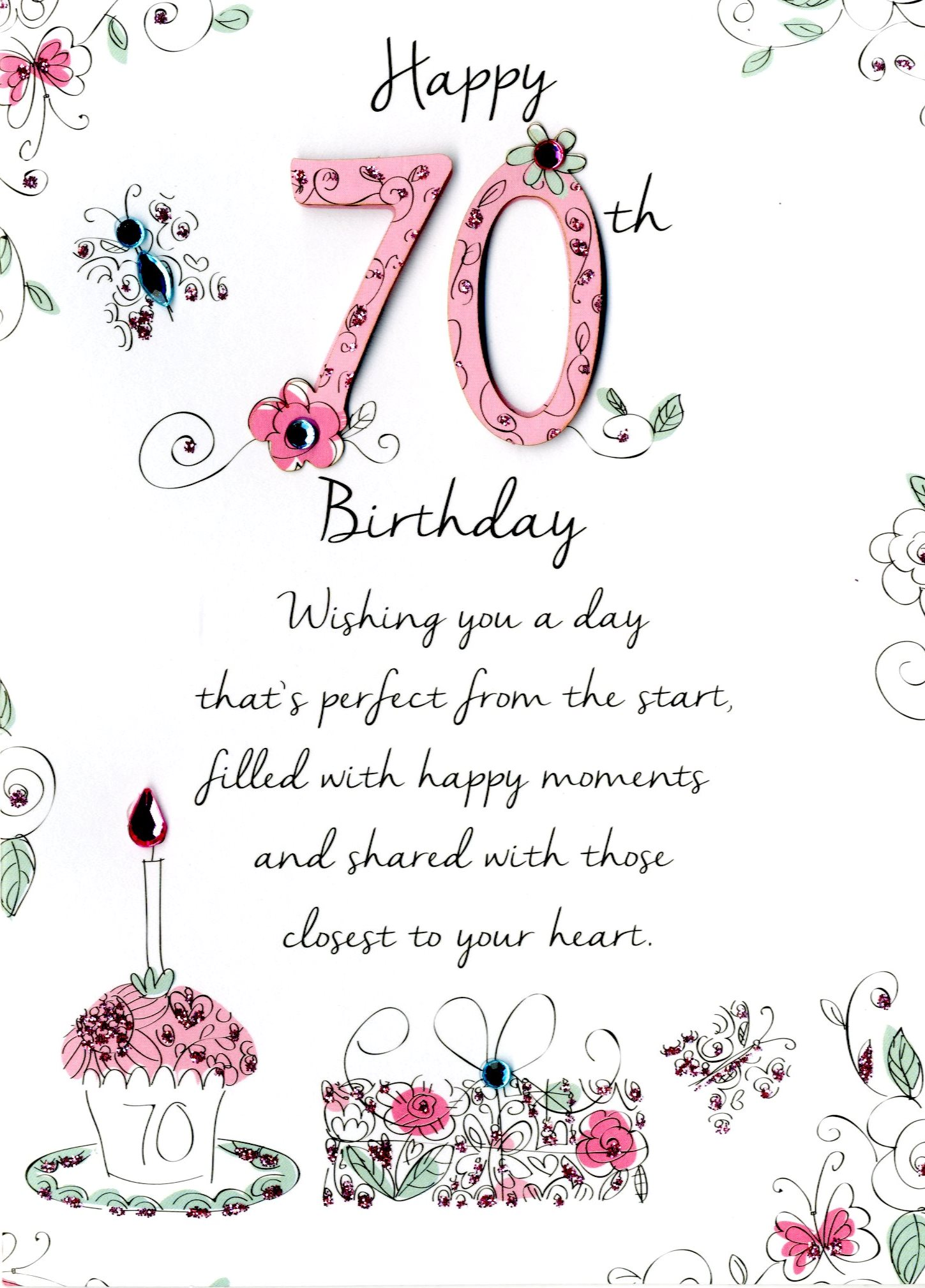 Female 70th Birthday Greeting Card Cards