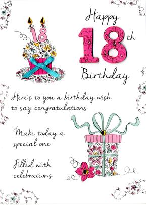 Female 18th Birthday Greeting Card