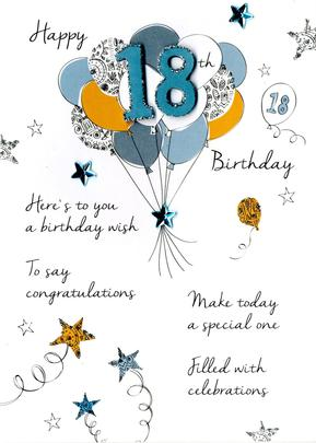 Male 18th Birthday Greeting Card
