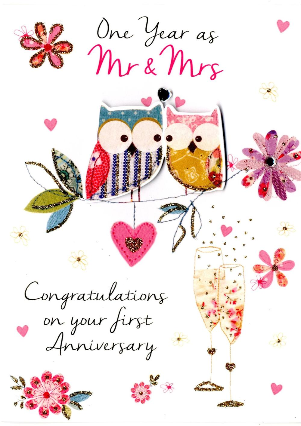 First Wedding Anniversary Greeting Card Cards Love Kates