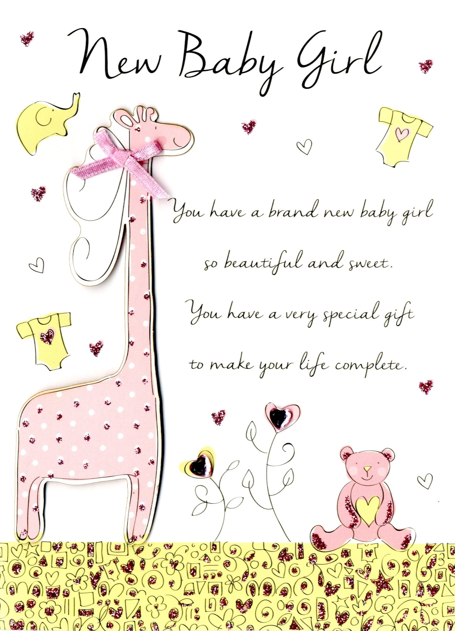 New Baby Girl Congratulations Greeting Card Cards Love Kates