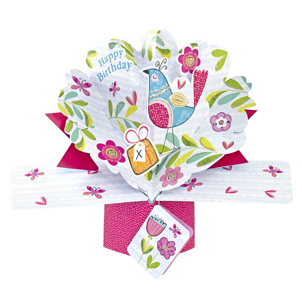 Pretty Bird Birthday Pop-Up Greeting Card