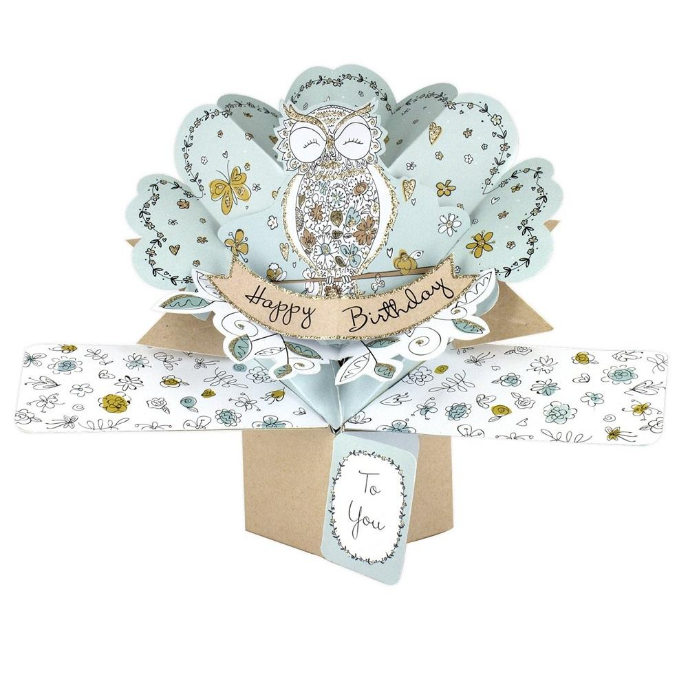 Owl Happy Birthday Pop-Up Greeting Card